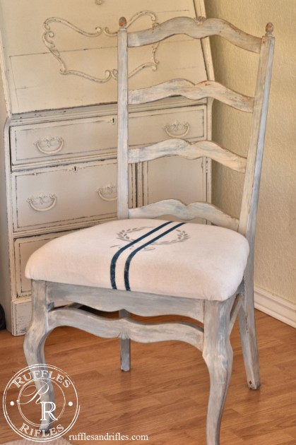 French Chair with Milk Paint and Grain Sack Upholstery