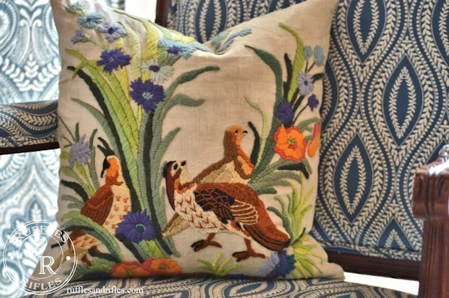 Pottery Barn Inspired Embroidered Throw Pillow