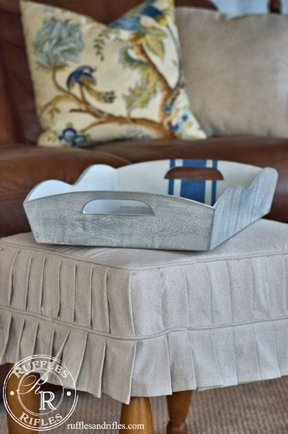 A thrifted wooden serving tray is painted inspired by an antique grainsack in Miss Mustard Seed's milkpaint for an updated look || Ruffles and Rifles