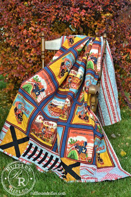 vintage train quilt 1