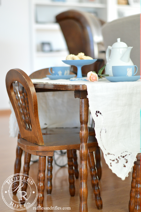 Vintage Children's Table and Chairs set for a tea party