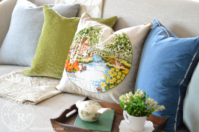 Embroidered Spring Pillow