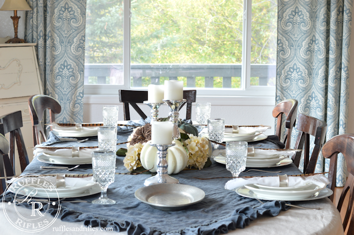 Fall Tablescape Blue & White