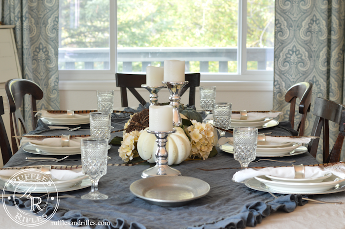 Fall Table Blue and White