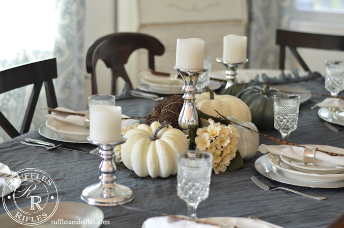 Fall Tablescape Blue and White