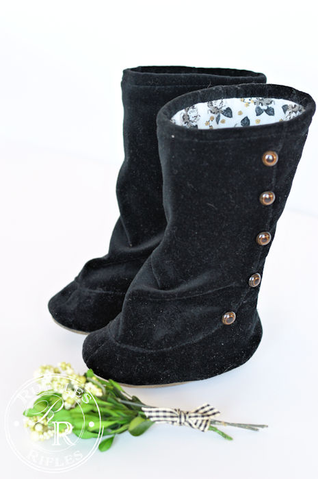 Black Velvet Button Boots