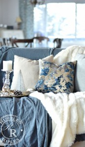 Living Room Winter Refresh with Blooming Pillows