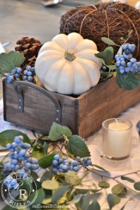 Blue and White Fall Table Vignette