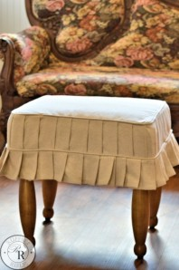 Furniture Reveal: An Ottoman Slipcover