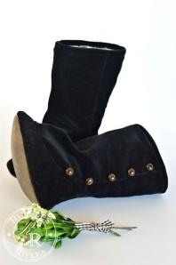 Black Velvet Button Boots